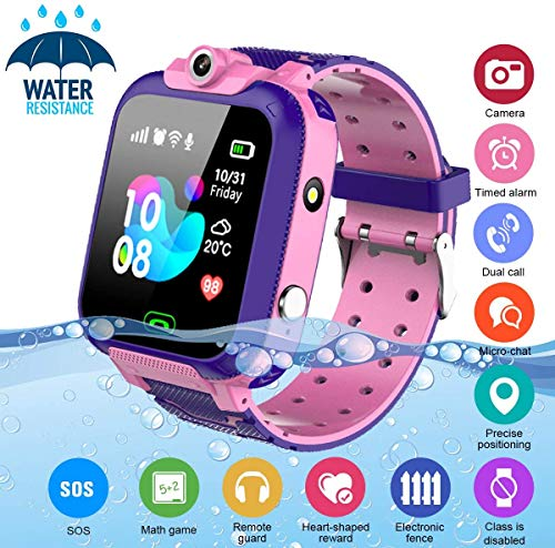 KToyoung Kids Smart Watch,Childrens Smartwatch for Kids Girls,Waterproof LBS Tracker Watch HD Touch Screen Sport Smartwatch Phone Watch with SOS Call Camera Game Alarm for Children Teen Students,Pink