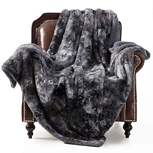 Bedsure Super Soft Fuzzy Faux Fur Reversible Tie-dye Sherpa Throw Blanket for Sofa, Couch and Bed - Plush Fluffy Fleece Blanket(50x60 inches, Dark Grey)