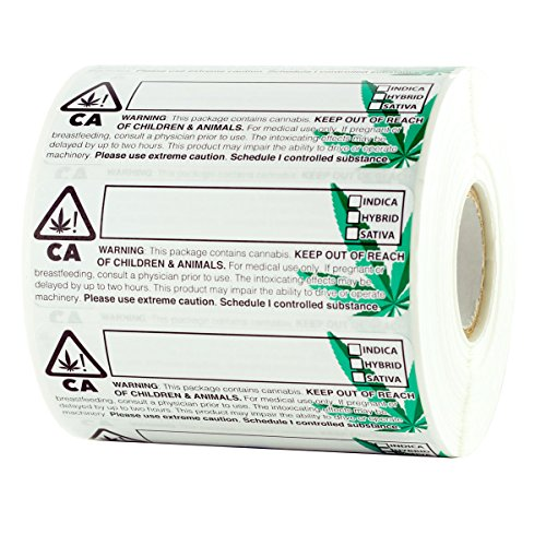"""Dragon Chewer California Medical Universal Symbol Labels - State Compliant Leaf Medical Stickers 3""""x1"""" - 1,000 pc Roll"""