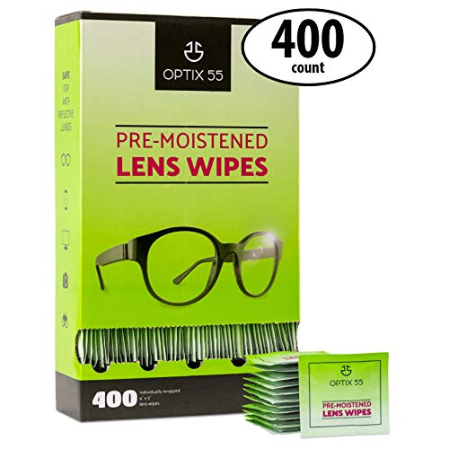 Eyeglass Cleaner Lens Wipes - 400 Pre-Moistened Cleaning Cloths - Glasses Cleaner Wipe Safely Cleans Eye Glasses, Sunglasses, Phone Screens, Electronics, Computer Monitor & Camera Lense | Streak-Free