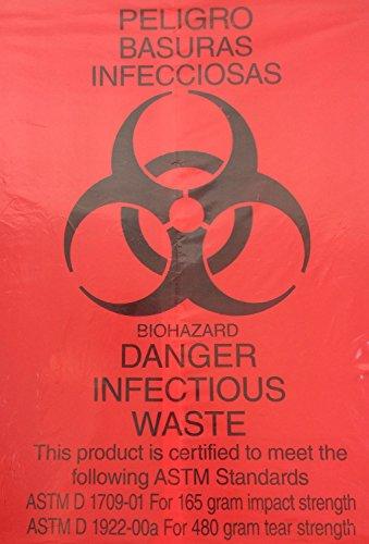 Rollpak Biohazard LLDPE Waste Disposable Bag, Qty 20 Bags, 33 Gallon Capacity, 30 W x 43 L, 1.30 mil, 33 Micron, Red STX-3043RP