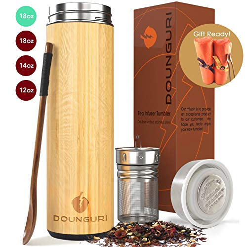 DOUNGURI Bamboo Tea Tumbler Mug with Strainer Infuser - 18oz Vacuum Insulated Stainless Steel Thermos for Loose Leaf/Coffee Travel Bottle/Hot and Cold Water/Leak Proof/Gift Ready