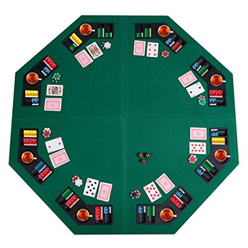 Giantex 48' Folding Poker Table Top Green Octagon 8 Player Four Fold Folding Poker Table Top & Carrying Case (Dark Green)