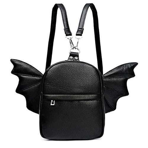 Women Fashion Mini Backpack | Detachable Bat Angel Wing Shoulder Bag (Black)