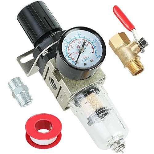 Hromee 1/4 Inch Air Filter Regulator Combo Piggyback, Air Compressor Tool Water Separator with Pressure Gauge, Ball Valve and Bracket, Manual Drain AW2000-02