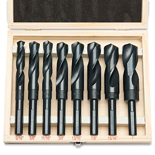 Hiltex 10005 HSS Silver and Deming Industrial Drill Bit Set (8 Pieces), 1/2'