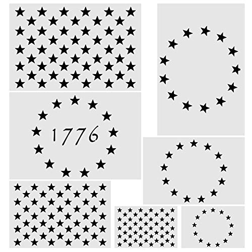 Koogel 7 Pcs Plastic Stencil Template, 3 Sizes American Flag 13/50 Star Stencil Template for Planner/Notebook/Wood/Wall/Graffiti/Card DIY Drawing Painting Craft Projects