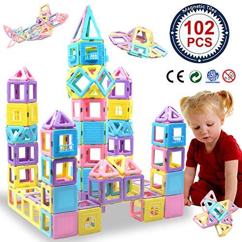 HLAOLA Magnetic Blocks 102PCS Upgrade Magnetic Building Blocks for Kids Magnetic Tiles 3D Magnetic Toys Educational STEM Toys Tiles Set Castle Toys for 2 3 4 5 6 7 Year Old Boys Girls Gifts