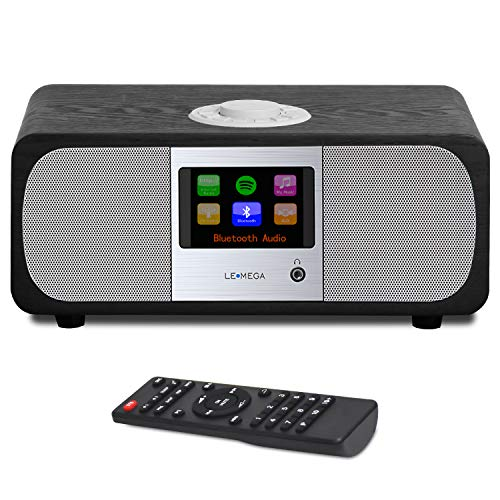 LEMEGA M3+ 20W Stereo Internet/FM Digital Radio with Bluetooth, Spotify Connect,WiFi, Headphones-Output,AUX-Input, USB MP3, 20 Stations Presets, Clock, Alarms, IR Remote and Wireless app – Black Oak