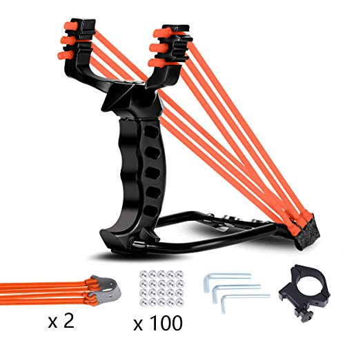 Elfirly Wrist Rocket Slingshot Professional Powerful Outdoor Hunting Sling Shot Accurate Shooting High Velocity Catapult with 2 Heavy Duty Launching Rubber Bands and 100 Slingshot Ammo (Black)