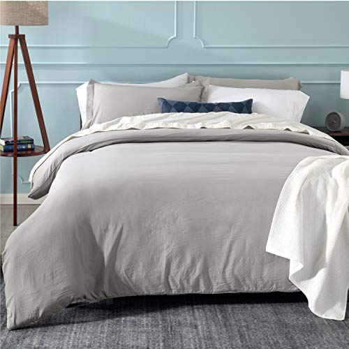 Bedsure Grey Duvet Cover Set with Zipper Closure, Washed Microfiber - Ultra Soft King Size(104x90 inches) -3 Pieces (1 Duvet Cover + 2 Pillow Shams)