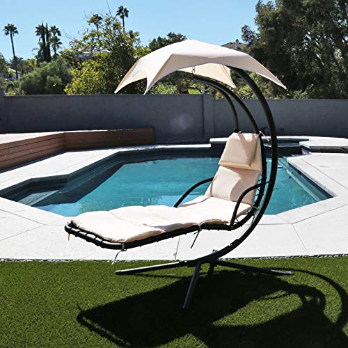 Flex HQ Outdoor Hanging Chaise Lounger Chair Arc Stand Porch Swing Hammock Chair with Canopy Beige
