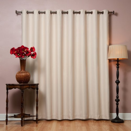 Best Home Fashion Premium Wide Width Thermal Insulated Blackout Curtain - Antique Bronze Grommet Top - Beige - 100' W x 84' L - (1 Panel)