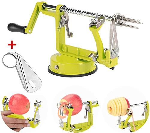 Apple Peeler Corer Stainless Steel Apple Corer Slicer Peeler Spiral Apple/Potato Peeler Slicer Corer Durable Heavy Duty Blade Multicolor Peelers (Green)