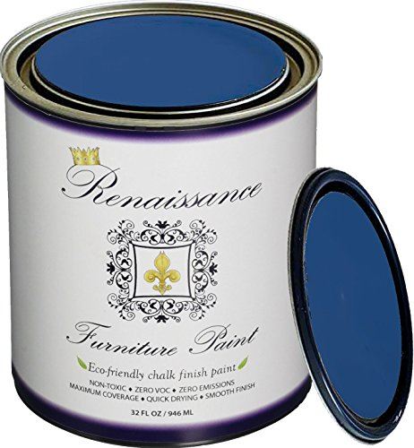 Retique It Chalk Finish Paint by Renaissance - Non Toxic, Eco-Friendly Chalk Furniture & Cabinet Paint - 32 oz (Quart), Ultramarine