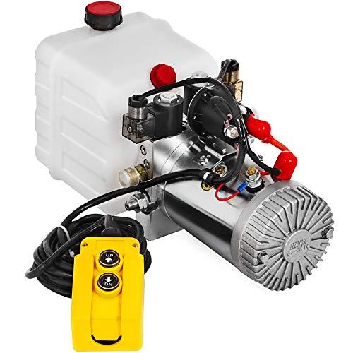 Mophorn Hydraulic Pump 3 Quart Hydraulic Power Unit Double Acting Hydraulic Pump for Dump Trailer Car Lifting 12V DC Plastic Oil Reservoir (Plastic, Double Acting)