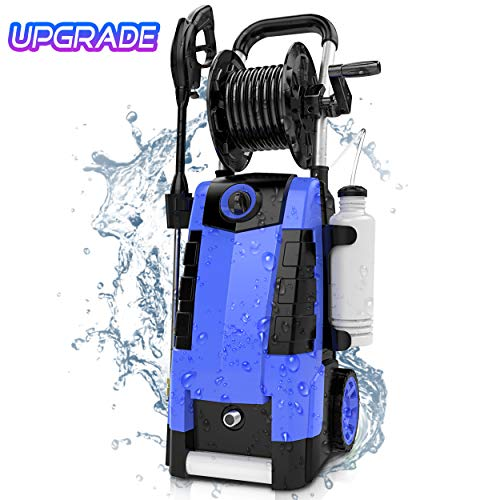 TEANDE 3800PSI Electric Pressure Washer, 2.8GPM High Pressure Power Washer 1800W Machine for Cars Fences Patios Garden Cleaning Hose Reel
