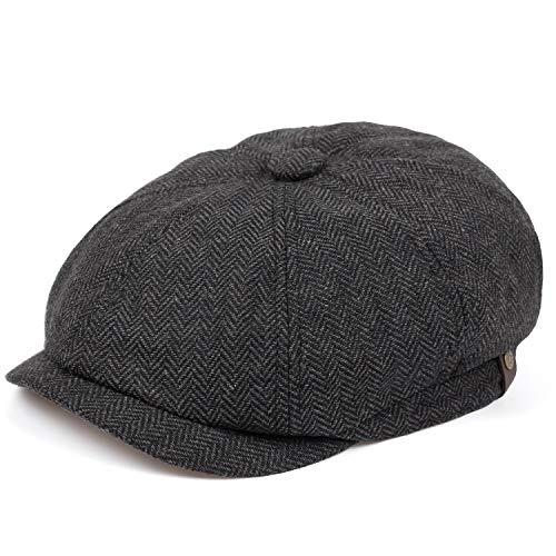VORON Newsboy caps Cotton Wool Flat hat Hats for Men Ivy hat Golf Adjustable Driving hat Dark Gray