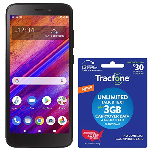 Tracfone BLU View 1 4G LTE Prepaid Smartphone (Locked) - Black - 16GB - SIM Card Included - CDMA - with $30 Airtime Bundle