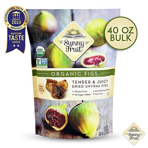 ORGANIC Turkish Dried Figs - Sunny Fruit - 40oz Bulk Bag   Tender & Juicy Figs - NO Added Sugars, Sulfurs or Preservatives   NON-GMO, VEGAN, HALAL & KOSHER