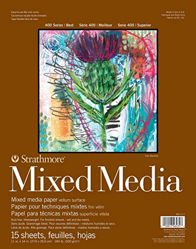 Strathmore 462-111 400 Series Mixed Media Pad, 11'x14' Glue Bound, 15 Sheets