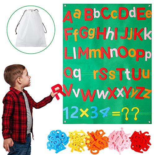 WATINC 122Pcs Alphabet Felt Flannel Board Kit for Kids Reusable Velcro Upper Lower Case Letter Numbers Math Symbols Giant Wall Hanging Preschool Educational Toy Christmas Birthday Gift for Boys Girls