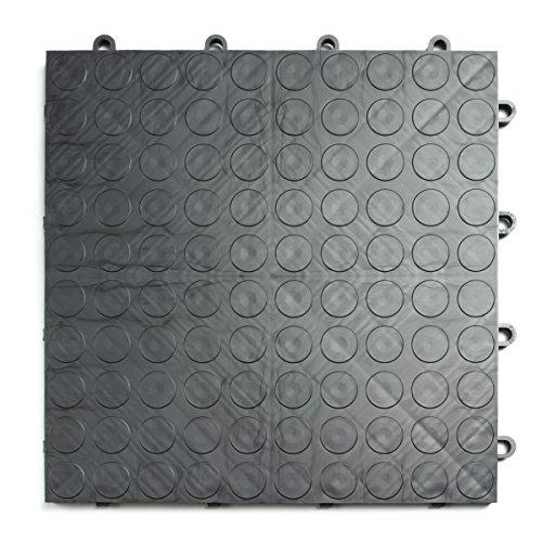 GarageDeck Coin Pattern, Durable Interlocking Modular Garage Flooring Tile (48 Pack), Graphite