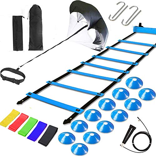 Agility Ladder Speed Training Equipment, Includes 12 Rung Agility Ladder,Running Parachute,Jump Rope,Resistance Bands,12 Resistance Cones for Football,Basketball,Hockey Training Athletes.