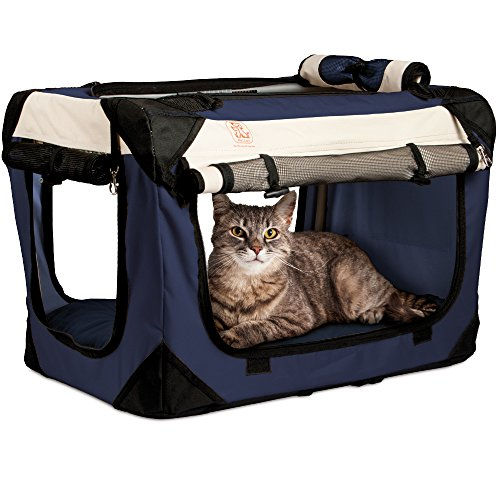PetLuv 'Happy Cat Premium Cat Carrier Soft Sided Foldable Top & Side Loading Pet Crate & Carrier Locking Zippers Shoulder Straps Seat Belt Lock Plush Pillow Reduces Anxiety (Large, Navy)