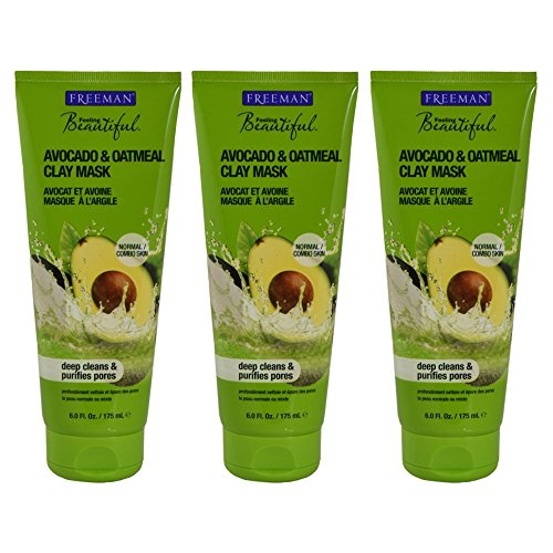 Freeman Facial Avocado & Oat Clay Mask 6 Ounce (177ml) (3 Pack)