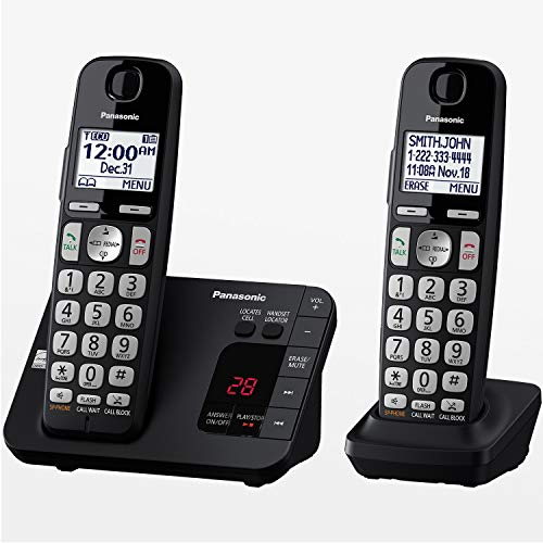 Panasonic DECT 6.0 Expandable Cordless Phone System with Answering Machine and Call Blocking - 2 Handsets - KX-TGE432B (Black)