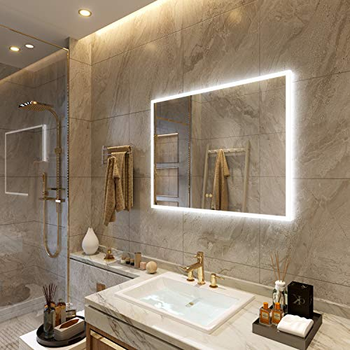 Petus PetusHouse 36 X 28 Inch LED Lighted Bathroom Wall Mounted Vanity Mirrors, Acrylic Frame White Light Dimmable Anti-Fog Memory Button Waterproof CRI90 5MM Bedroom Mirror Vertical & Horizontal