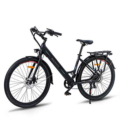 Macwheel 26' Electric Bike, 350W Brushless Motor, Removable 36V/10Ah Lithium-ion Battery, Shimano 7-Speed, City Electric Bike Black