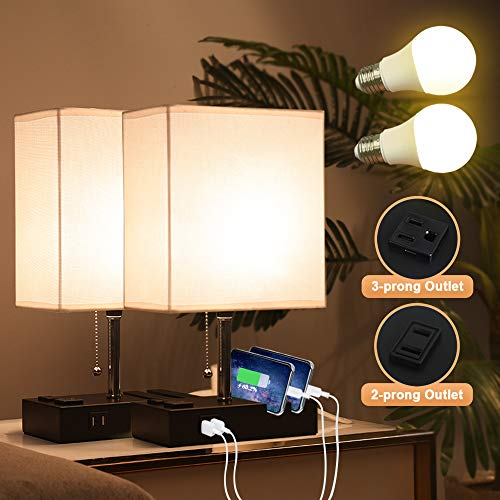 Lifeholder Bedside Lamps with 2 Phone Stands, Table Lamp Include 2 Warm LED Bulbs, Nightstand Lamp Built in 2 USB Ports & 2 AC Outlet, Exquisite Desk Lamp Idea for Bedroom or Living Room(2 Packs)