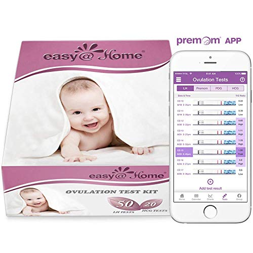 Easy@Home 50 Ovulation Test Strips and 20 Pregnancy Test Strips Combo Kit, (50 LH + 20 HCG)