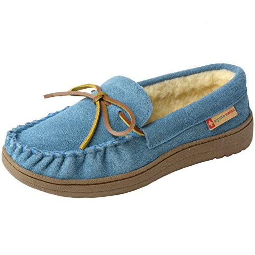Alpine Swiss Sabine Womens Suede Shearling Slip On Moccasin Slippers Blue 10 M US