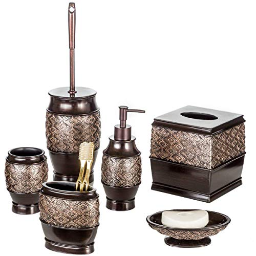 Creative Scents Dublin 6-Piece Bathroom Accessories Set, Includes Decorative Soap Dispenser, Soap Dish, Tumbler, Toothbrush Holder, Tissue Box Cover and Toilet Bowl Brush (Brown)