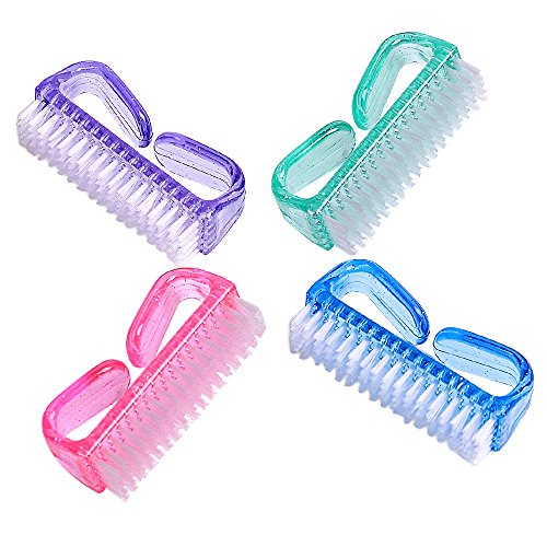 Handle Grip Nail Brush, Fingernail Scrub Cleaning Brushes for Toes and Nails Cleaner, Pedicure Brushes for Men and Women 4 Pack