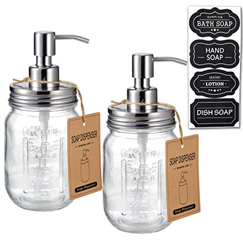 Mason Jar Soap Dispensers -Rustproof Stainless Steel Lid &Pump, Refillable Wash Hand Soap for Bathroom,Kitchen-Ideal for Dish Soap,Liquid Soap, Lotions,Waterproof Stickers,16Oz/ Brushed nickel(2 Pack)