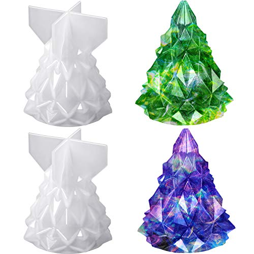 2 Pieces Christmas Tree Silicone Mold 3D Christmas Tree Resin Mold Epoxy Resin Casting Molds Candle Soap Handmade Mold for DIY Festival Craft Making Home Decoration