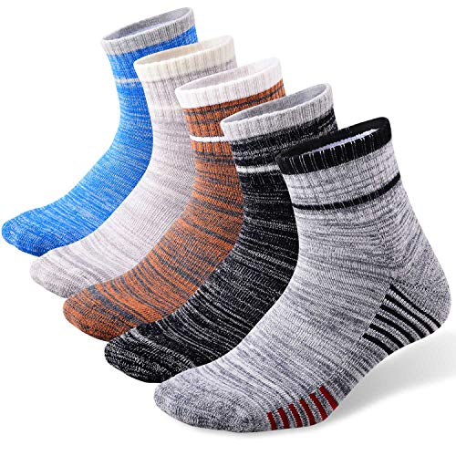FEIDEER 5-Pack Men's Hiking Walking Athletic Socks Wicking Cushioned Quarter Sports Socks(18105-XL)
