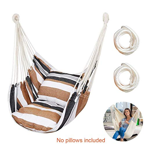 Hammock Chair Hanging Rope Swing Seat for Indoor Outdoor, Sturdy Cotton Weave Hammock Swing, Max 300Lbs Hanging Hammock Chair for Bedroom Patio Porch (Khaki)