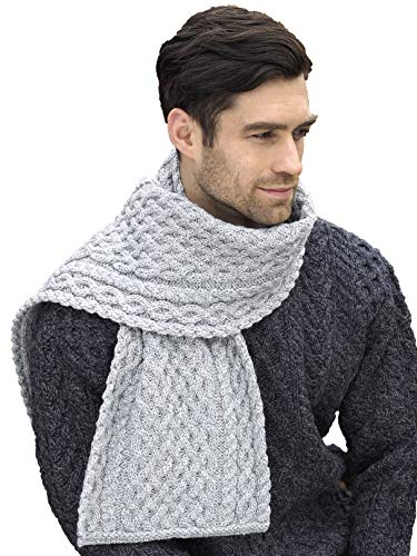 Aran Crafts Irish Soft Cable Knitted Wool Trellis Pattern Scarf (X4840-SGRY)