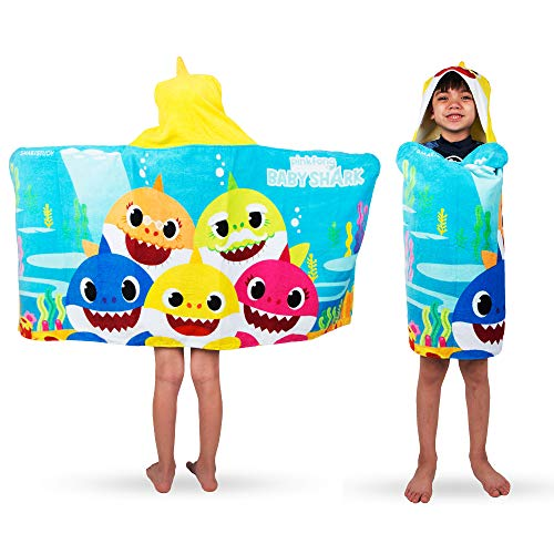 Franco Kids Bath and Beach Soft Cotton Terry Hooded Towel Wrap, 24' x 50', Baby Shark