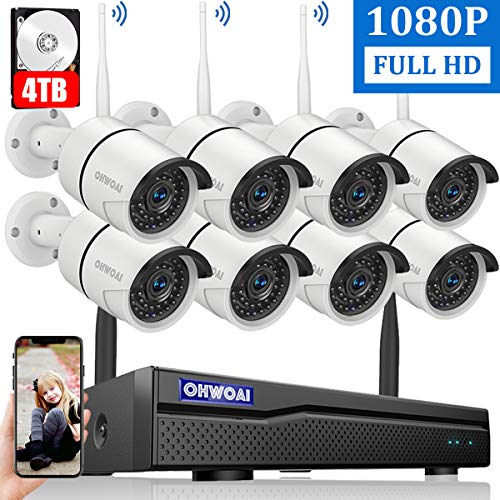 2020 New Security Camera System Wireless, 4TB Hard Drive Pre-Install 8 Channel 1080P NVR, 8PCS 1080P 2.0MP CCTV WI-FI IP Cameras for Homes,OHWOAI HD Surveillance Video Security System.
