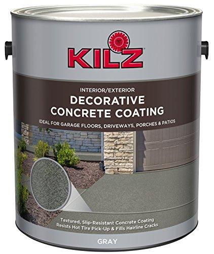 KILZ L378701 Interior/Exterior Slip-Resistant Decorative Concrete Paint, 1 Gallon, Gray
