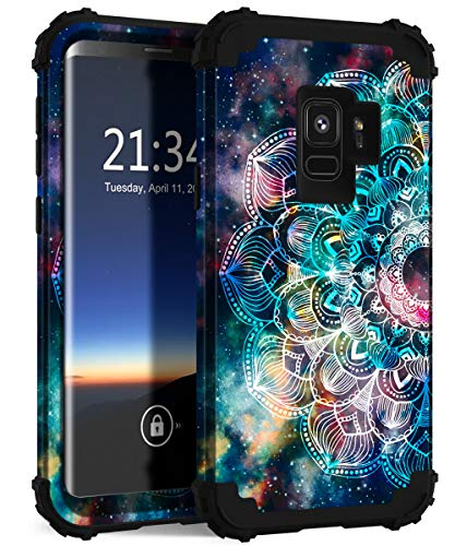 Hocase Galaxy S9 Case, SM-G960 Case, Heavy Duty Shockproof Protection Hard Plastic+Soft Silicone Rubber Hybrid Dual Layer Protective Phone Case for Samsung Galaxy S9 2018 - Mandala in Galaxy