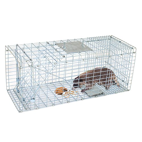 Smartxchoices 32' X 12' X 12.5' Large Live Animal Trap Cage Humane One-Door Solid Steel Catch and Release Rodent Cage for Raccoon, Rabbits, Stray Cats, Squirrel, Groundhogs, Opossums, Armadillos