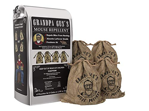 Grandpa Gus's Mouse Repellent; Peppermint and Cinnamon Oil, Freshen Air, Repel Mice from Nesting and Absorbs Leftover Odors in Homes/RV, Boat & Car Storage and Machinery (1.38 Oz x 4 Burlap Pouches)