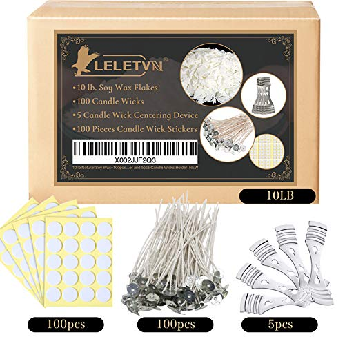 Candle Making Kit for Adults - LELETVN Candle Making Supplies CMK1910 - Include 10LB Natural Soy Wax & 100pcs Candle Wicks & 100pcs Candle Wick Stickers & 5pcs Candle Wick Centering Device